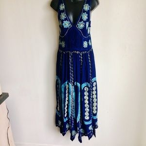 Indian Blue Gold Floral Embroidered Dress One Sz